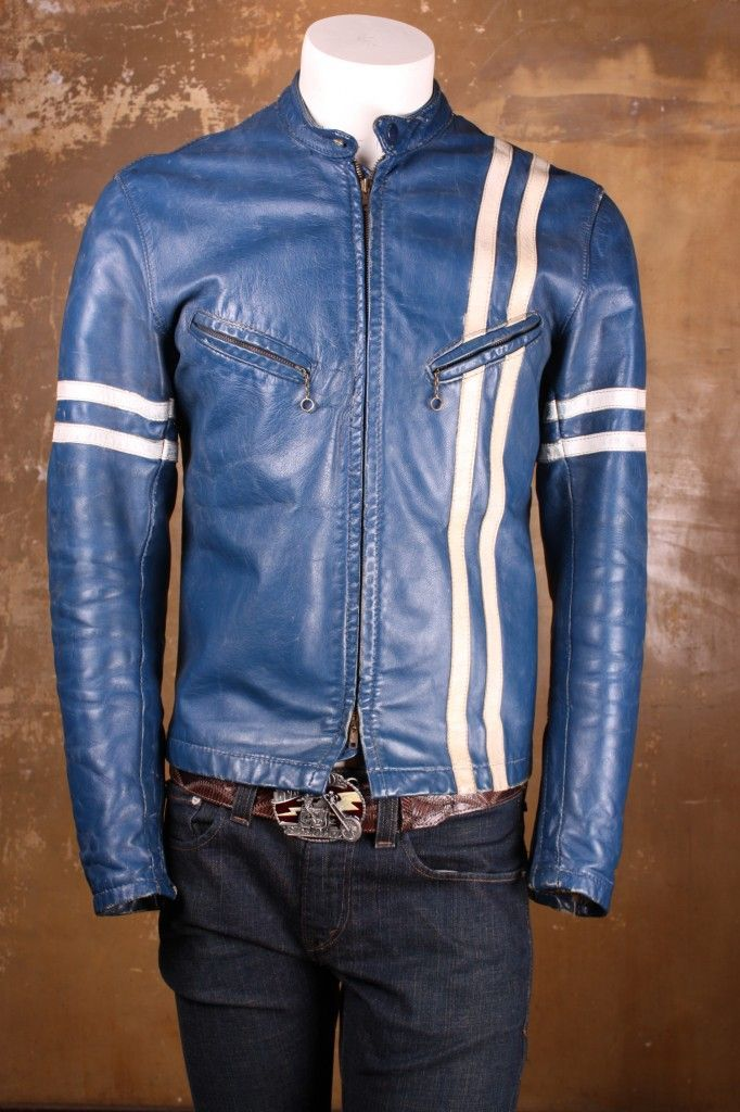 Vintage Bates Jacket in Blue with Stripes! Leather