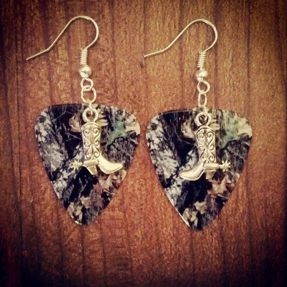 Mossy Oak Camo Camouflage guitar pick earrings with pistol gun charms by Featherpick