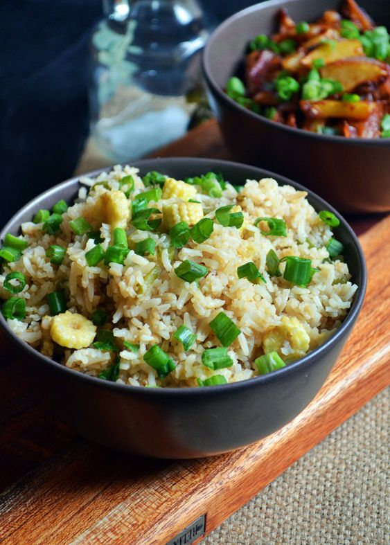 Baby corn fried rice: Indo chinese style baby corn fried rice,easy lunch box recipe. Make w/ GF tamari for a gluten-free version.