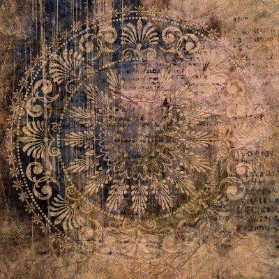 art vintage grunge background with damask patterns Stock Photo