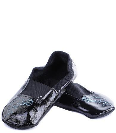 Колибри Колибри, Чешки с вышивкой для девочки (черный лак с голубым дельфином)  — 300р.