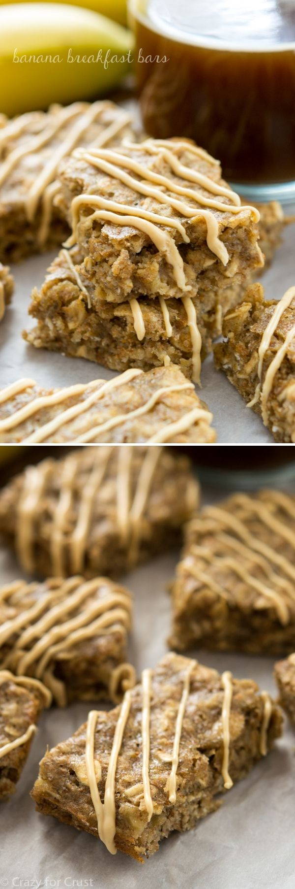 Banana Breakfast Bars are a combination granola bar, banana bread, and blondie all in one. Lighter than all 3, it's a perfect snack!