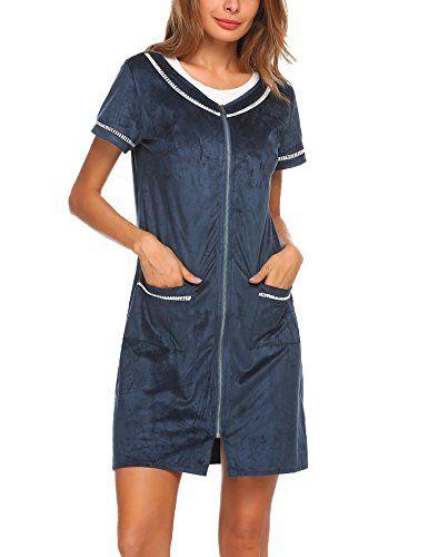 36058155c0 Zouvo Women s Robe Sleepwear Zipper Solid Color Bathrobe Loungewear with  Pockets S-XL