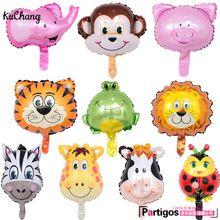 8 шт. мини животных фольгированные шары Лев и обезьяна и зебра и олень и корова голова животного воздушный шар День рождения Декор игрушки по...(China (Mainland))