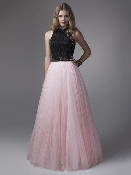 A-line Unique Tulle Beading Multi Colours Scoop Neck Formal Dress #Formal020100886
