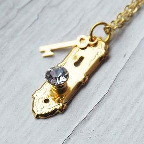 Alice im Wunderland goldene Türklinke und Halskette (R2B1)