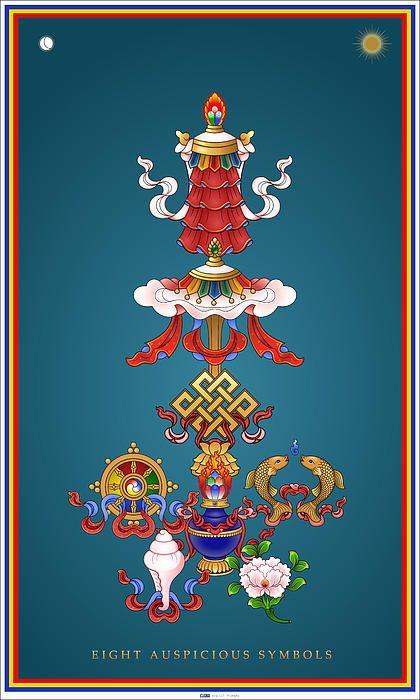 Eight Auspicious Symbols by Fred Van der Zee - Eight Auspicious Symbols Painting - Eight Auspicious Symbols Fine Art Prints and Posters for Sale