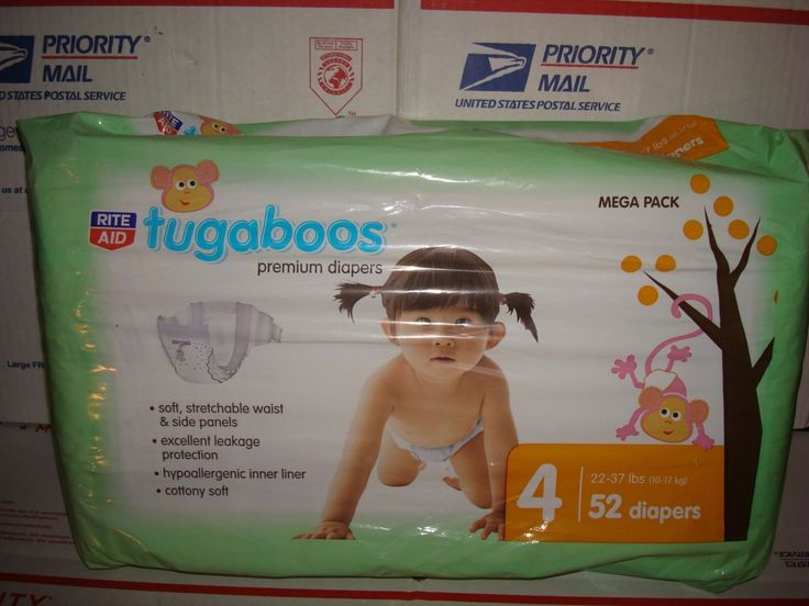 NEW Rite Aid Tugaboos Diapers Premium Size 4 (22-37 lbs) 52 DIAPERS ON SALE
