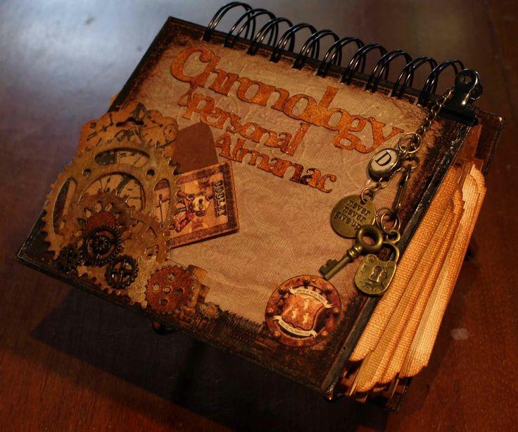 A Dellamortika steampunk desk calendar made using paper and a bind-it-all