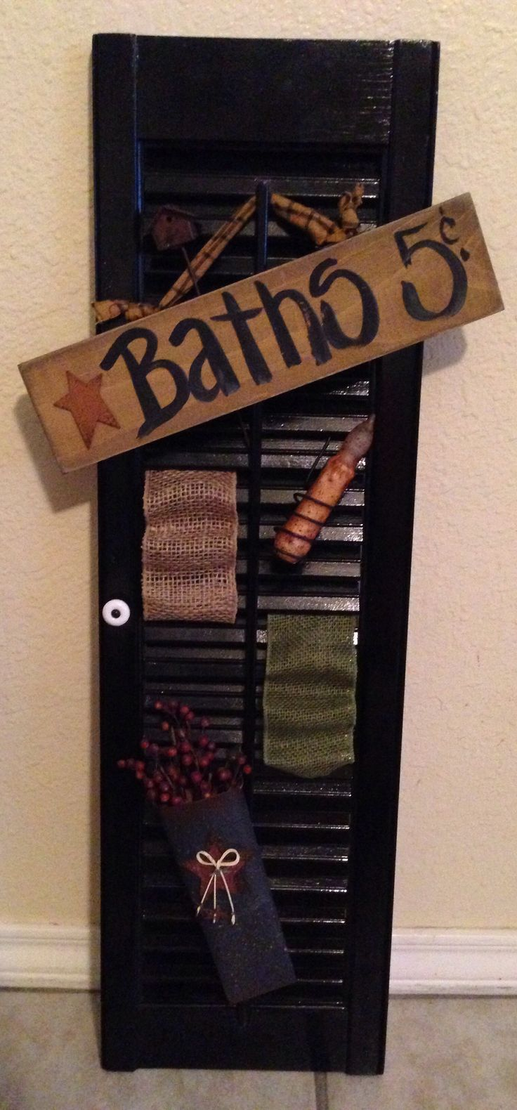 Primitive Bathroom Decor Started As An Old Shutter My