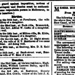 BAILEY, William Lamont. Death. High St, St Kilda.  The Argus, 28 May 1879, 'Family Notices', p. 1.