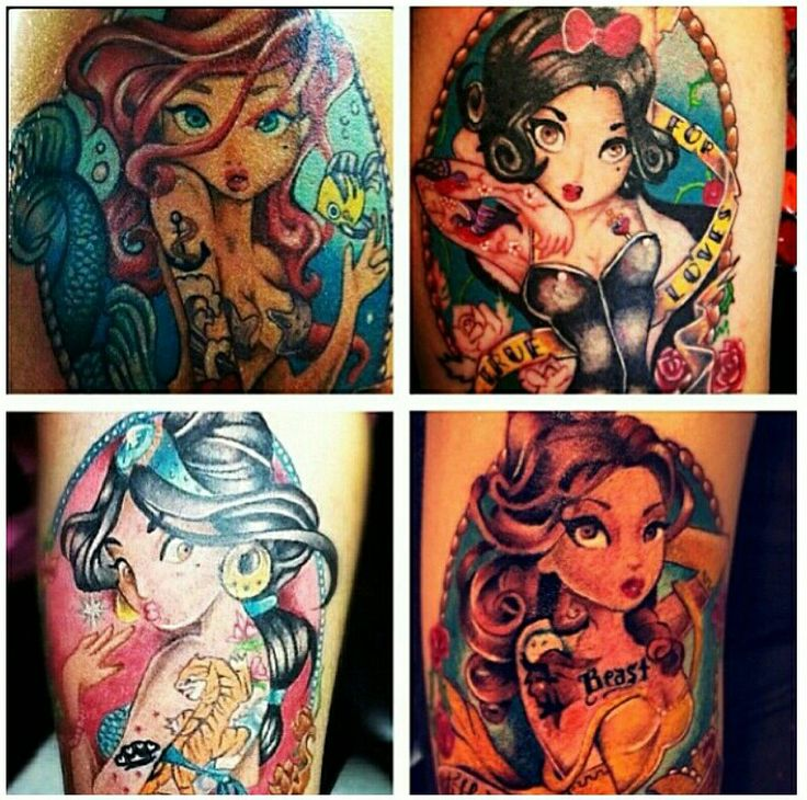 Disney 39 s princess in a cute punk way by huss baby for 90s baby tattoos
