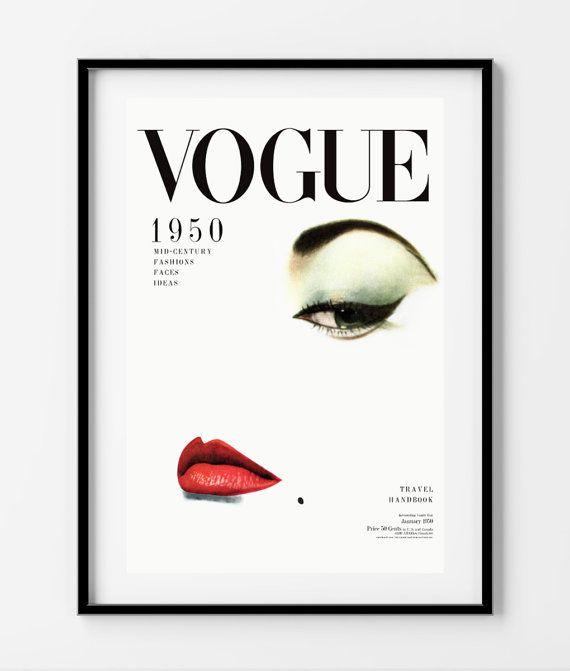 vintage vogue cover poster print wall art size a2 60 x. Black Bedroom Furniture Sets. Home Design Ideas
