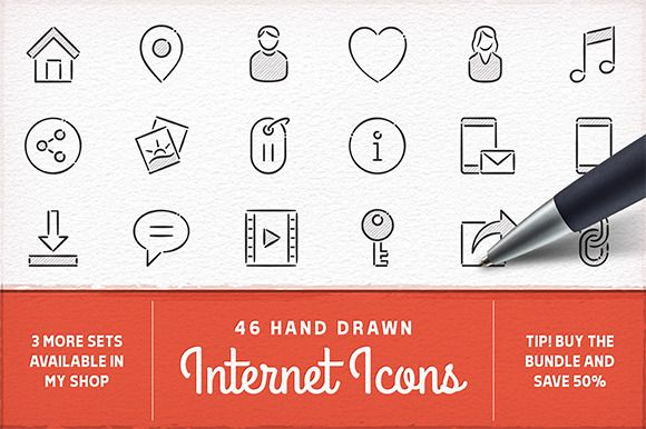 Hand Drawn Internet Icons by Swedish Points on @creativemarket