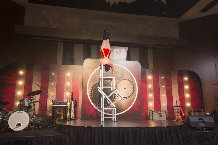 Steampunk Circus Awards Dinner - chair balancing act.