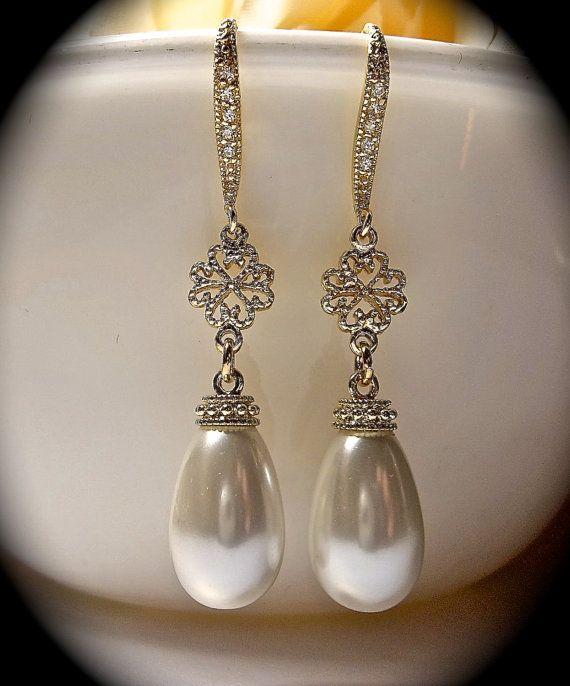 Pearl earrings  Gold  long pearl drops  Gold by QueenMeJewelryLLC, $37.99 - Lee Ann will make anything you want, and fast, her work is beautiful!