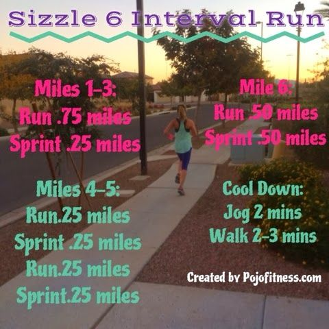 pojo fitness: the sizzle 6 interval run. This run burns close to 600 calories in 42 minutes or less. Fantastic Fat burner workout
