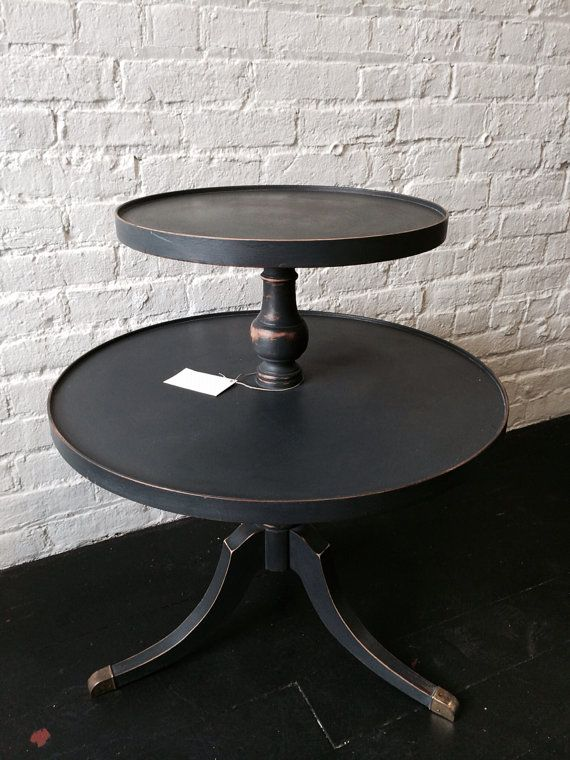 Antique Twotier Black Round Side Table By