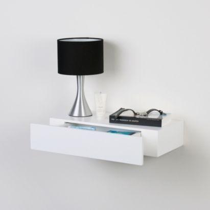 BQ Chunky Floating Shelf With Drawer, White, 5397007011463 - bedside table?