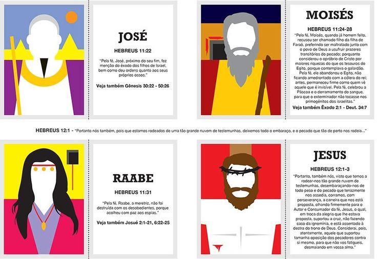 Trazemos hoje cartões educativos com os heróis da fé da galeria de Hebreus 11, um ótimo material para usar em casa e em EBDs.