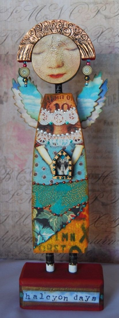 Altered Art Doll  Halcyon Days by desertdreamstudios on Etsy