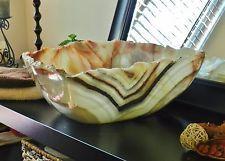 Moder Natural Stone Bathroom Vessel Onyx Alabaster  Marble Sink Vanity