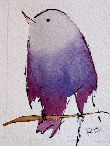 Watercolor Birds by Richard McKey. Too cute! . ----- I LOVE how the artist used a bit of ink outlining. PERFECT !!!!