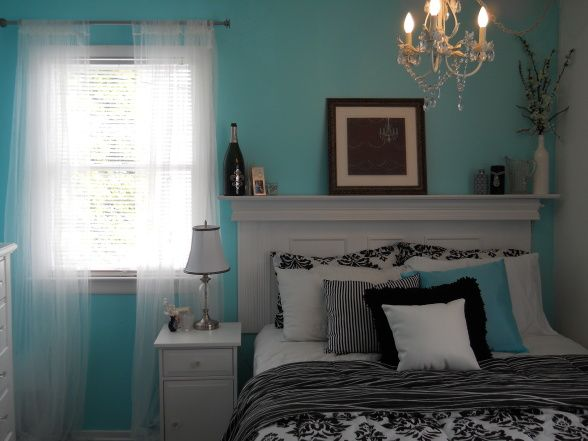 black and tiffany blue inspired bedroom