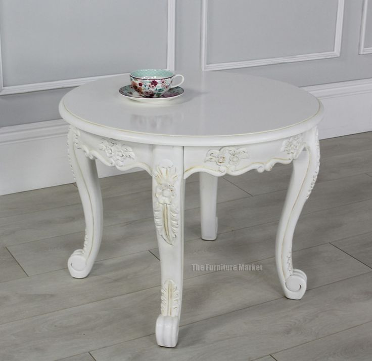 French Connection Gunmetal Coffee Table: French Chateau White Painted Small Round Coffee Table
