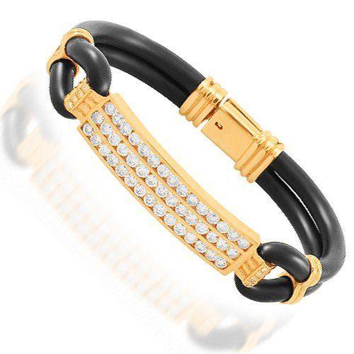 14K Solid Yellow Gold Mens Diamond Bracelet 4.50 Ctw Avia... #afflink