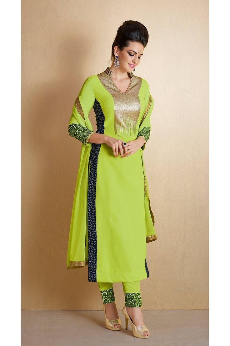 Long Pista Green Salwar Suit Online   Visit-http://www.glamzon.com/shop/salwar-kameez/long-pista-green-salwar-suit-online/  #nakkashi #straightsalwarkameez #nairra