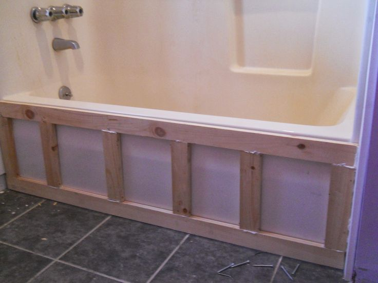 Basically we built a frame for the front if the tub and covered it with beadboard wainscoting and MDF moldings (a plastic, waterproof, rot proof version of the classic wood moldings).  On the top edge of the tub we placed a board made from PVC to finish off the built-in look.  We also added MDF boards on the side of the tub going up the wall to further anchor it in place.   What is behind a beadboard trim to update and upgrade old bathtub