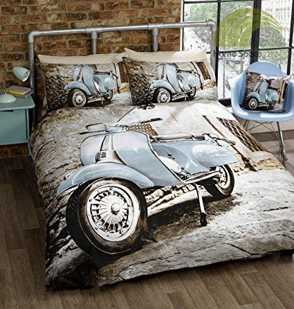 Photographic Scooter Blue King Quilt Duvet Cover & 2 x Pillowcase Bedding Set by Homespace Direct