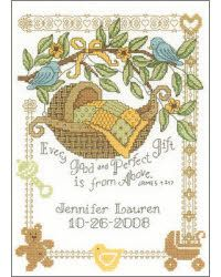 Baby Cross stitch ~ Every good and perfect gift is from above~  It looks pretty nice and not too much work...although, it could be a bit more colorful