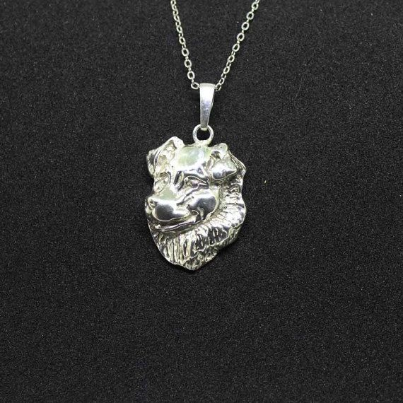 Australian Shepherd jewelry pendant - sterling silver - Custom Dog Necklace - Pet Memorial Gift - Dog Mom Gift - Pet jewellery by jewelledfriend. Explore more products on http://jewelledfriend.etsy.com