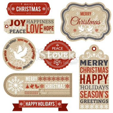 Christmas Labels and Gift Tags Royalty Free Stock Vector Art Illustration