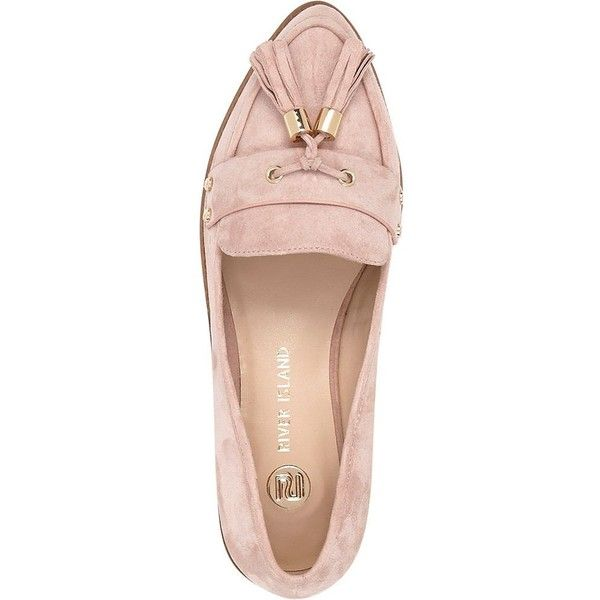 River Island Pink suede tasselled loafers ($50) ❤ liked on Polyvore featuring shoes, loafers, flats, pink suede flats, flat pumps, loafer shoes, pink shoes and pink loafers