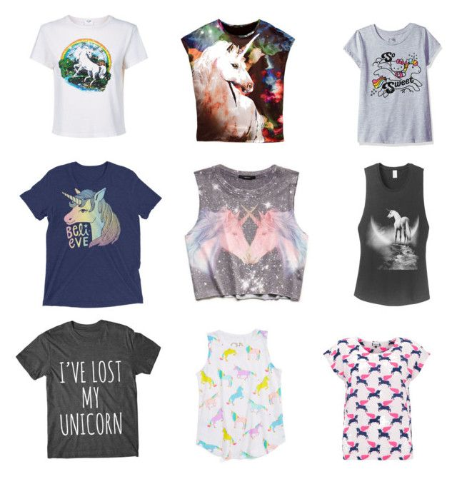"""""""9 of the Best... Unicorn Tees"""" by beavercity on Polyvore featuring RE/DONE, Mercy Delta, Forever 21 and Hello Kitty"""