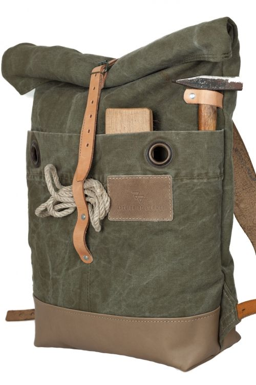 roll top canvas leather rucksack