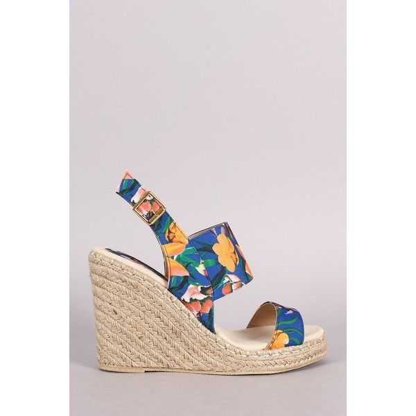 Qupid Floral Slingback Espadrille Platform Wedge ($38) ❤ liked on Polyvore  featuring shoes,