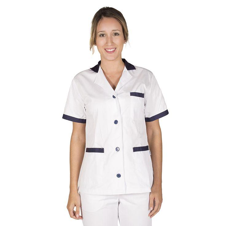 532 - bata limpieza blanca de mujer en manga corta y con botones combinada con azul marino