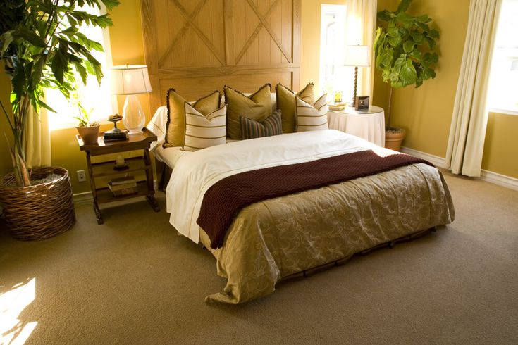 Luxury bedroom furniture collections - large plants in every corner of the bedroom add design. Big comfortable bedroom with lots of colorful pillows and plenty of sun light. White curtains and white drapes in contrast with brown bed cover with white sheets.