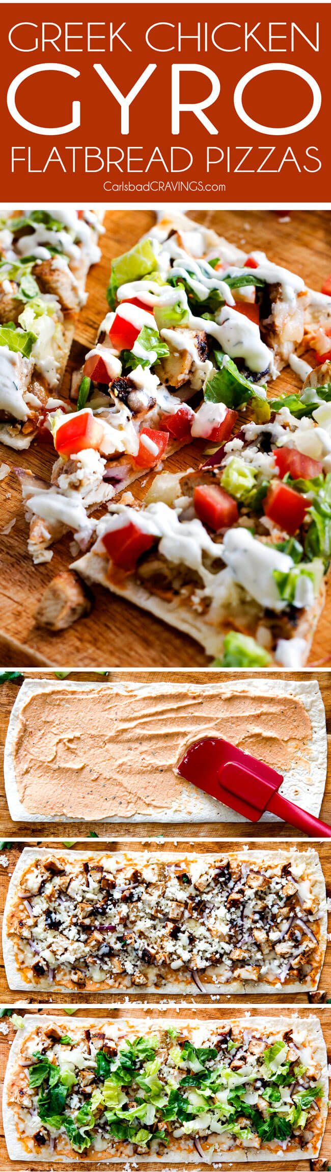 Greek Chicken Gyro Flatbread Pizzas – these are amazing and SO quick and easy!  An explosion of flavors and textures with the most flavorful Greek Chicken and easy Blender Tzatziki!  Great for lunch/dinners or for appetizers and entertaining!  via @carlsbadcraving
