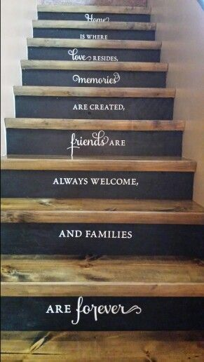 """Stair Renovations""  Removed carpet from old stairs,  added some paint, stain and some inspirational words.... love it !♡"