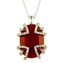 Sweet Karat Red Agate and 0.25 ct. t.w. Diamond Pendant