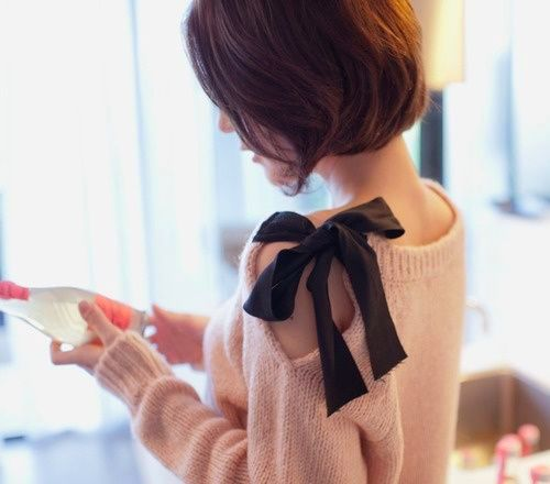 refashion & restyle older sweater with a ribbon tie at shoulder. cute! Top 5 Pins: Fall Fashion Edits | HelloSociety Blog