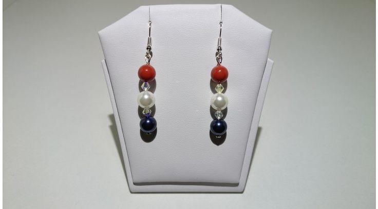 Sötétkék-Fehér-Piros Shell Pearl gyöngy fülbevaló swarovski kristállyal - Fülbevalók - FMGyöngy - Utazás a gyöngyök világába Dark blue-white-red shell pearl earring
