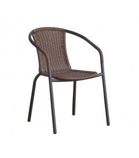 Πολυθρόνα Μεταλλική Καφέ Με Καφέ Wicker 53x58x77 cm
