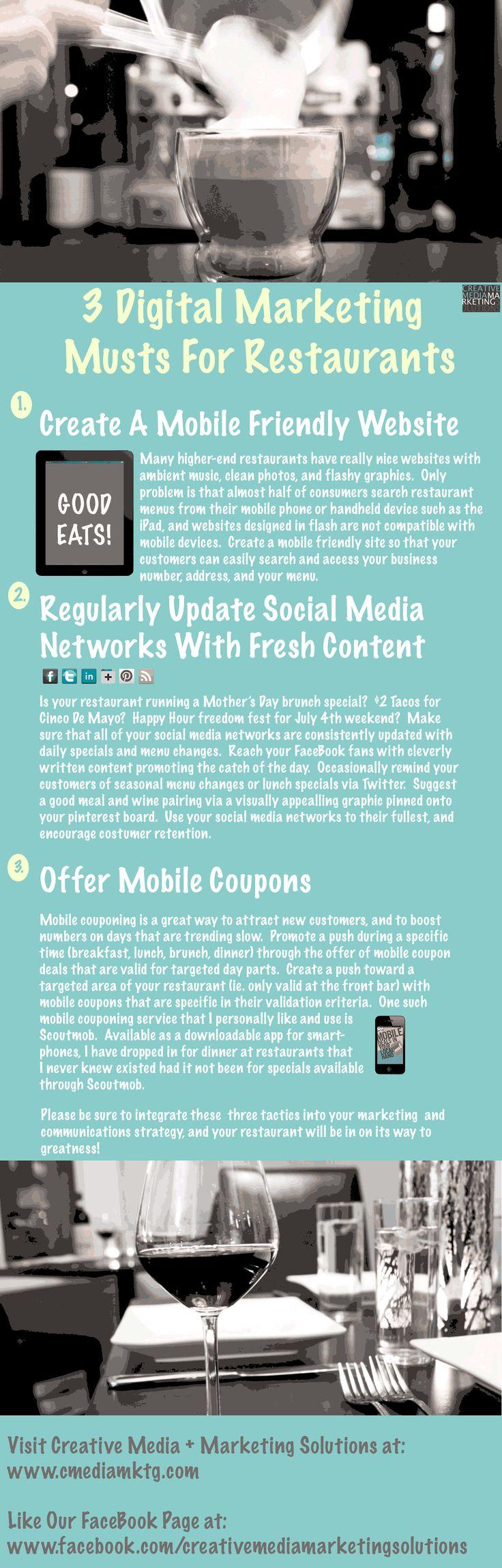 3 Simple Digital Marketing Musts For Marketing Savvy Restaurants