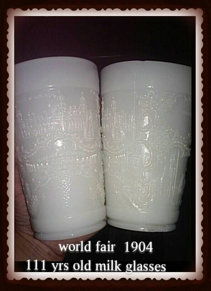 Vintage milk glass embossed 2 tumblers 1904 St Luis world fair scenes,Antique souvenir milk glass worlds fair antique rare cups 111years old by createArt2love on Etsy